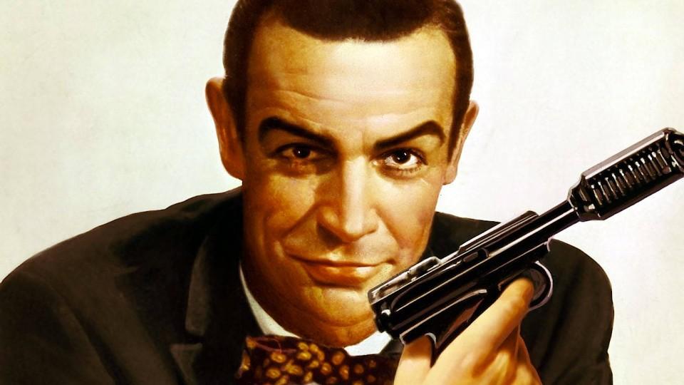 """Sean Connery auf einem Plakat von """"James Bond - 007 jagt Dr. No"""" (USA, 1962)"""