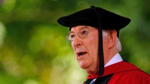 File photograph of poet Seamus Heaney reciting his poem at Harvard University in Cambridge