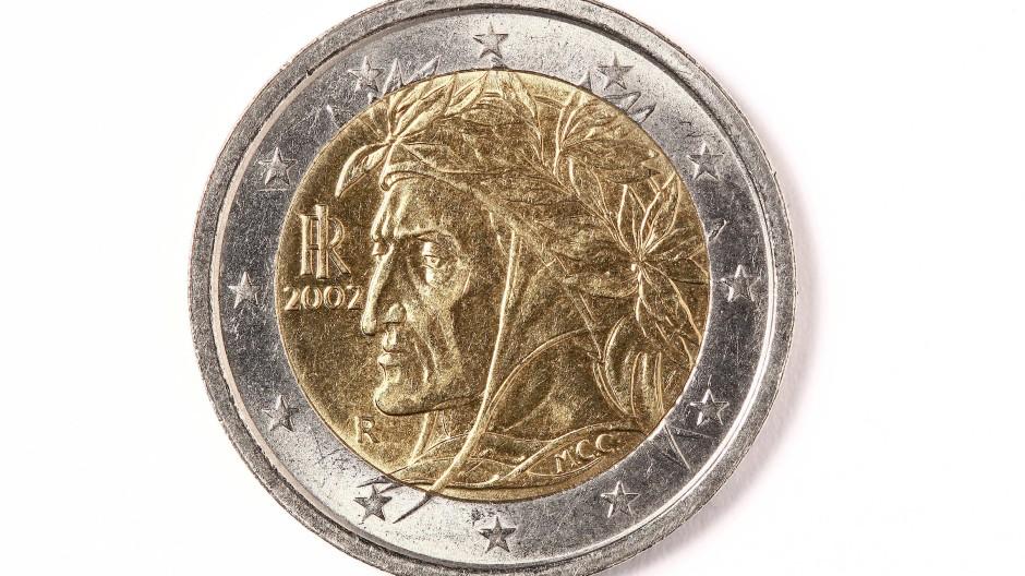 Zwei-Euro-Münze mit Dante-Porträt