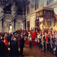 """Anton von Werners """"Eröffnung des Reichstags im Weißen Saal des Berliner Schlosses""""."""