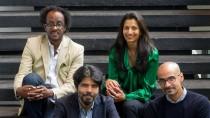 Das Internationale Literaturfestival hat sie nach Berlin geführt: Dinaw Mengestu (l.), Pankaj Mishra, Priya Basil und Junot Díaz im Haus der Festspiele