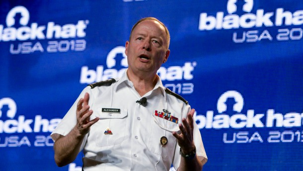 General Keith Alexander, director of NSA, chief of CSS and commander of the U.S. Cyber Command, responds to questions after giving address at a hacker convention in Las Vegas