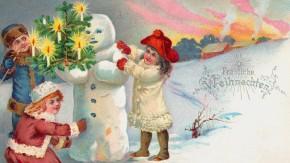 Diese glänzenden Augen! Weihnachtspostkarte aus dem Jahr 1901