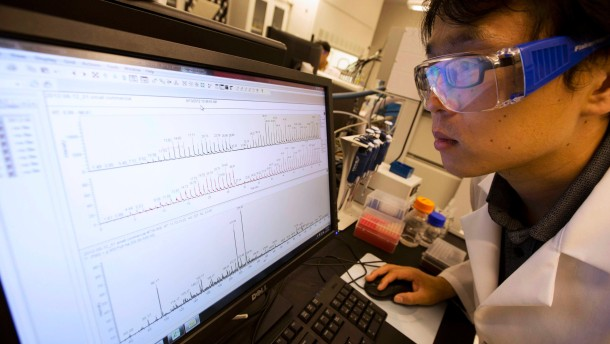 Scientist Jian Li looks at results of a mass spectrometer test at the U.S. Food and Drug Administration (FDA) in Silver Spring