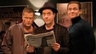 """Habt ihr schon vom neuesten Plan der EU gelesen? Til Schweiger, Jan Josef Liefers und Matthias Schweighöfer (von links) in dem Film """"Vier gegen die Bank"""", der vergangenes Jahr im Kino lief."""