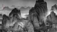 """Dystopie statt Utopie: In Yang Yongliangs """"Phantom Landscape"""" von 2010 bilden die einst aus dem Westen übernommenen Hochhäuser, Industrieanlagen und Kräne eine Landschaft in traditioneller Form nach."""