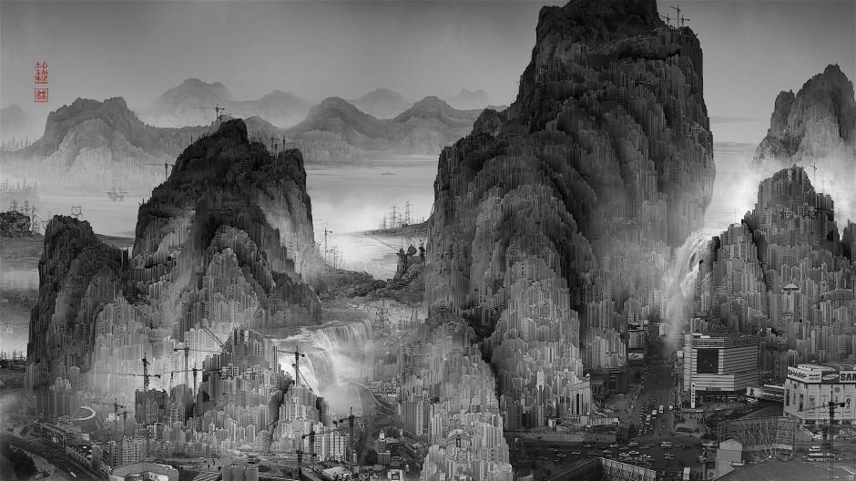 Dystopie statt Utopie: In Yang Yongliangs Phantom Landscape von 2010 bilden die einst aus dem Westen übernommenen Hochhäuser, Industrieanlagen und Kräne eine Landschaft in traditioneller Form nach.