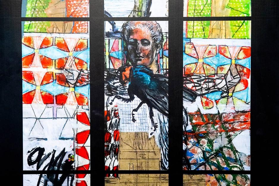 Herr der Fliegen: Modell des Kirchenfenster von Markus Lüpertz, das dieser für die Marktkirche in Hannover entworfen hat und das von Gerhard Schröder gestiftet wurde.