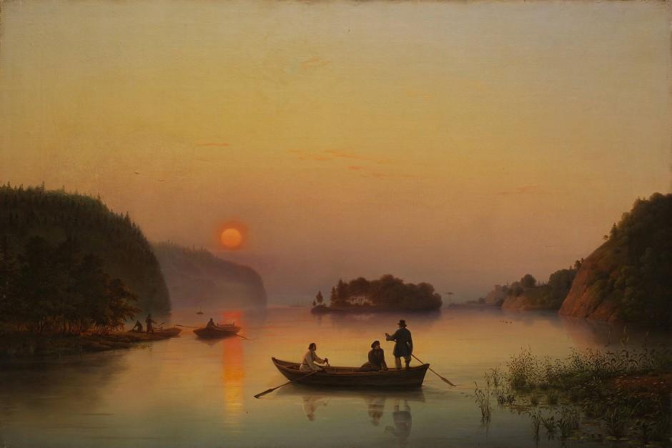 """Auch hier trügt die Idylle: Anton Iwanow-Golubois """"Die Insel Walaam bei Sonnenuntergang"""" von 1845."""