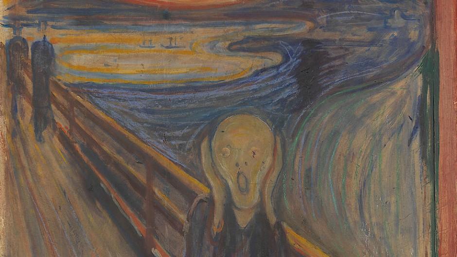 """Der Künstler als Seismograph der Natur, der zeitlebens eine """"Erklärung für das Leben und seine Bedeutung"""" finden wollte: Edvard Munchs erste Fassung des Motivs von 1893, nachträglich auf den Titel """"Der Schrei"""" verkürzt."""