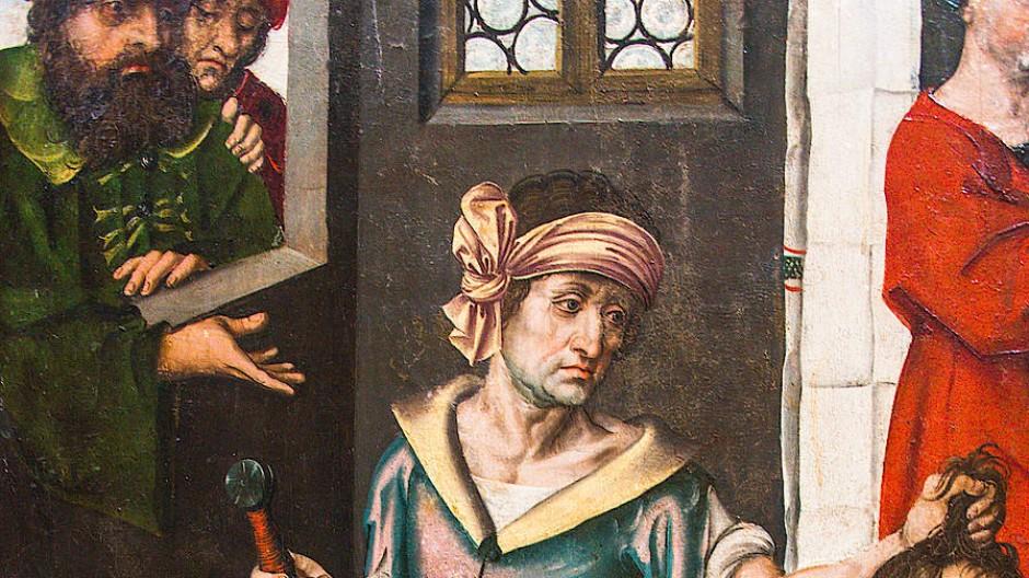 Bei so viel Eleganz im Bösen kann es eigentlich nur Dürer sein: Ausschnitt aus der Tafel mit der Hinrichtung Johannes des Täufers auf dem Hochaltar in Crailsheim, um 1490.