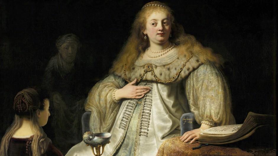 """Bleibt in der Familie: Auch auf Rembrandts """"Judith vor dem Bankett des Holofernes"""" von 1634 trägt die alttestamentliche Heroine unübersehbar die Züge seiner Partnerin."""