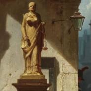 """Die Gerechtigkeit lässt auf sich warten, dafür liegt der Polizeidiener in hoffnungslos veralteter und zusammengestöpselter Uniform - sein Zweispitz war um 1800 modern - auf der Lauer: Carl Spitzwegs """"Fiat Justitia"""" von 1857."""