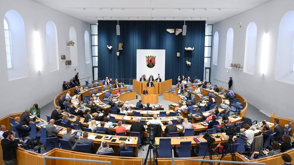Das Runde musste ins Eckige: Von 2016 bis zum Beginn der Pandemie tagte der rheinland-pfälzische Landtag in der Steinhalle des Landesmuseums.
