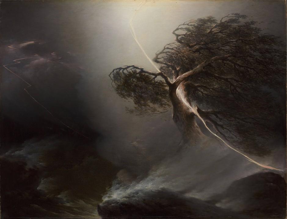 """Unheil aus heiterem Himmel: Maxim Worobjows """"Vom Blitz gespaltene Eiche (Unwetter)"""" von 1842."""