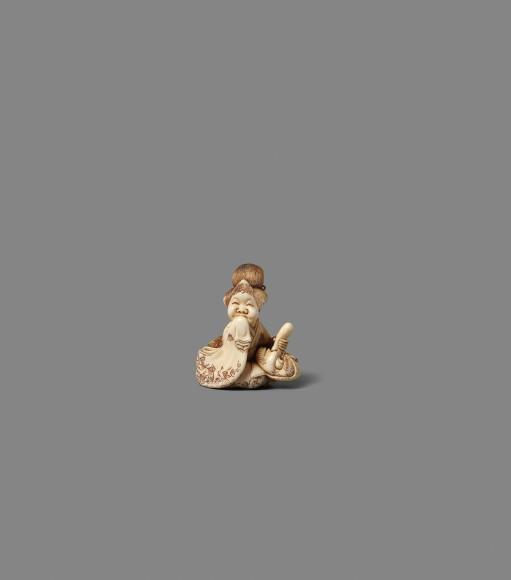 Okame mit Maske, 19. Jh., Elfenbein, Höhe 4,4 Zentimeter: Taxe 1200/1500 Euro.