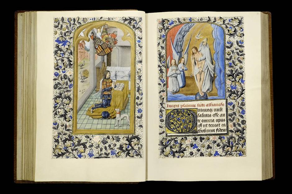 Unbeschützt durch einen Heiligen erweist sich Claude selbst als Schutzherr. Seine Anbetung gilt dem Gnadenstuhl auf der anderen Seite.