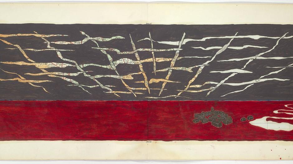 "Bill Woodrow, ""Small Stuenes Oscillator 5, 2008"" Ölfarbe auf bedruckten Stoff, 34,5 mal 74,5 Zentimeter, 10.000 Euro bei Caroline Smulders Art."