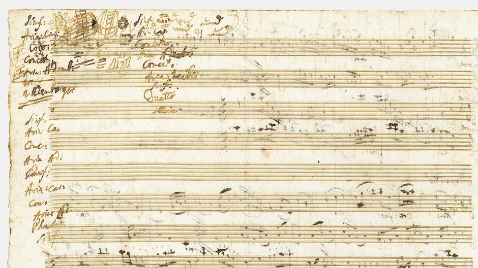 Aus der Feder eines Genies: Rückseite eines Musikmanuskript von Mozart mit Entwürfen für ein Konzertprogramm, geschätzt auf 140.000 Euro.