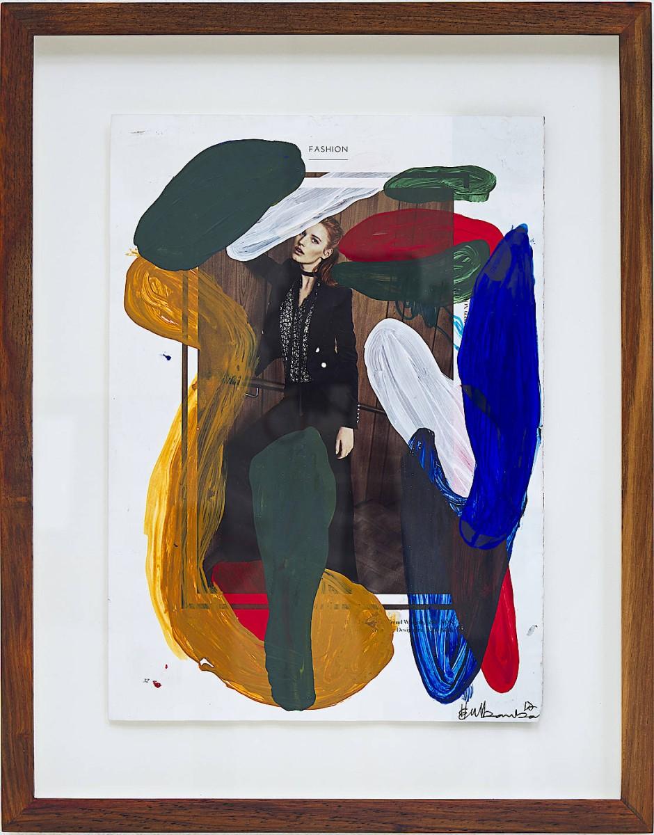 """Herman Mbamba, """"Sights to gesture"""", 2017, Acryl und Stift auf gefundenes Papier, 33 mal 25 Zentimeter, 2000 Dollar bei Bonolo Kavula."""