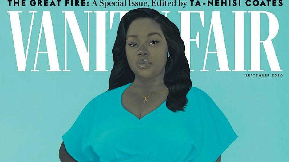 """Denkmal für ein Opfer der Polizeigewalt: Amy Sheralds Porträt von Breonna Taylor auf der """"Vanity Fair""""."""