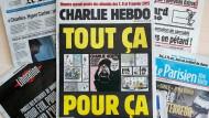"""Die Sonderausgabe von """"Charlie Hebdo"""" in dieser Woche."""