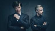 """Gott lenkt, der Meisterdetektiv denkt: Benedict Cumberbatch (links) und Martin Freeman in """"Sherlock""""."""