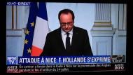 Auch bei BFM TV: Der französische Präsident Hollande nach dem islamistischen Anschlag in Nizza, bei dem 84 Menschen ums Leben kamen.