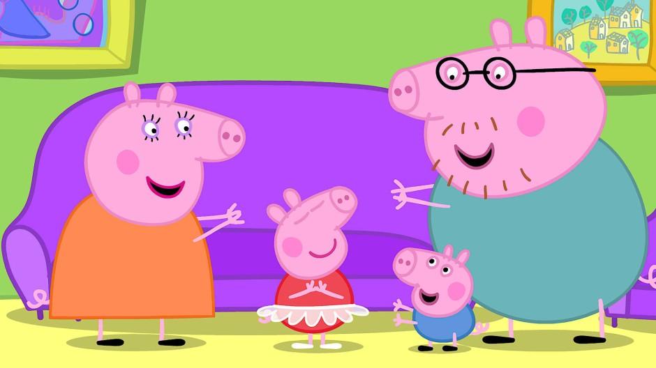 Harmloser geht es nicht: Familie Pig (zu deutsch: Wutz) im Wohnzimmer.