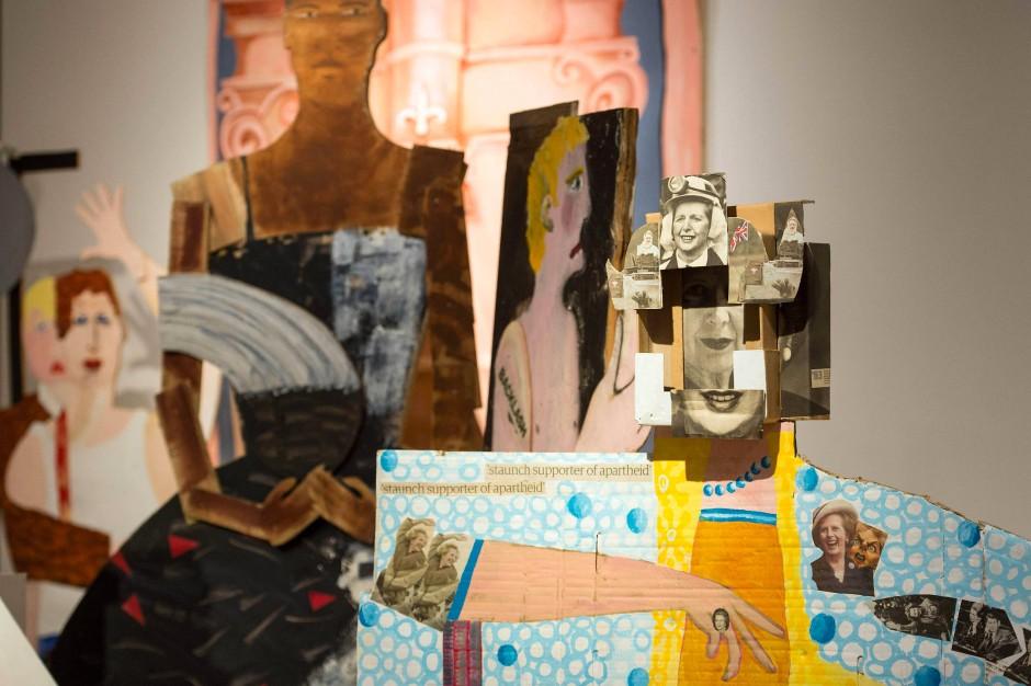 "Collage: Details des Kunstwerks ""A Fashionable Marriage"" von Lubaina Himid."
