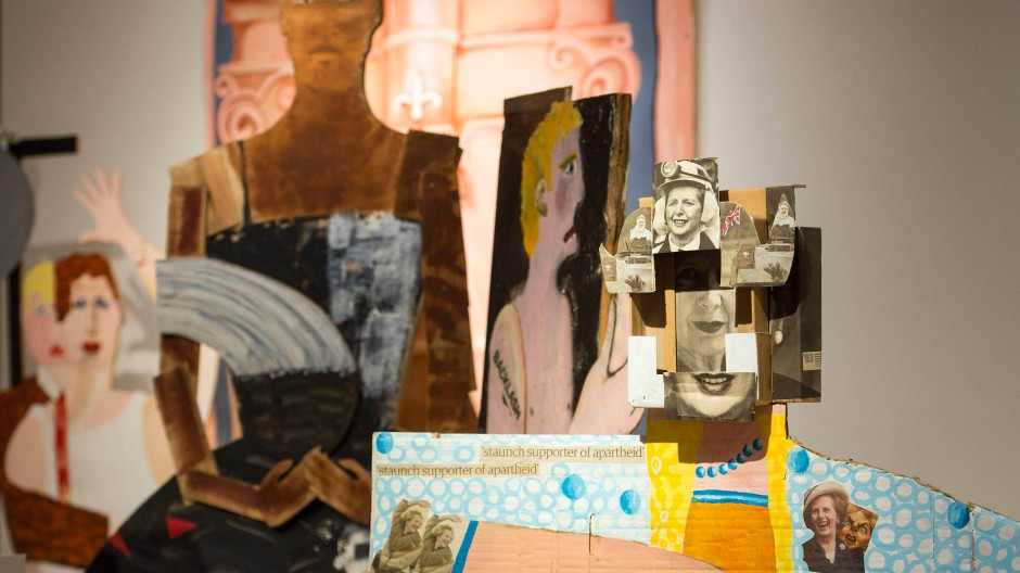 "Collage: Details des Kunstwerks ""A Fashionable Marriage"" von Lubaina Himid."