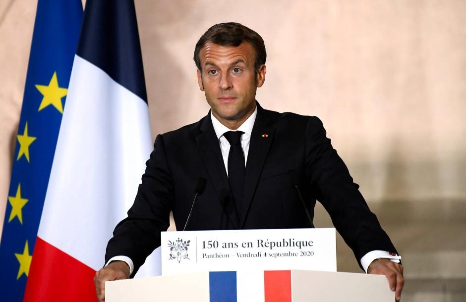 Emmanuel Macron bei seiner Rede im Pariser Panthéon.