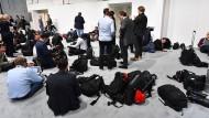 Arbeitsplatz: Journalisten während des G-20-Gipfels in Hamburg.