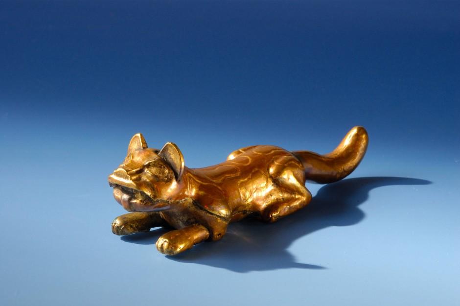Ein elf Zentimeter großer Jaguar aus einer Gold-Kupfer-Legierung als Anhänger, um 500 vor Christus in Nordperu geformt.