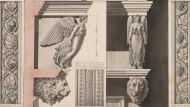 So sah es in Palmyra aus: Zeichnung der Fassadennische des Turmgrabs des Jamblik von  Louis François Cassas.