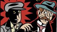 Für den Deutschen Bundestag zeichnete Simon Schwartz im Auftrag des Kunstbeirats zwanzig Comicbiographien von Parlamentariern aus der Zeit zwischen 1848 und 1933. Ausschnitt aus dem Blatt zur Biographie von Hugo Haase.