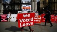 Vor dem Parlament in London: Ein Brexiteer demonstriert für den Austritt aus der Europäischen Union.