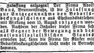 """Ein """"Gegner der Bewegung"""": Meldung aus dem """"Nassauer Beobachter"""" vom 23. August 1934"""