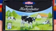 Ein Päckchen Deutsche Markenbutter, deren Preis sich in den vergangenen zwölf Monaten verdoppelt hat.