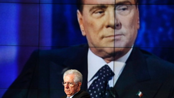 File photo of Italy's Prime Minister Monti appearing as a guest on the RAI television show Porta a Porta in Rome