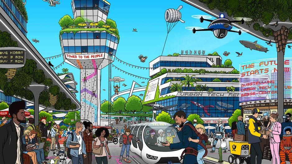 "Leben in der ""Smart City"" Berlin: Illustration des Projekts ""Tegel Smart City"" von Philipp Bouteiller"