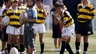 Japanischer Buddha lockt Rugby-Fans an