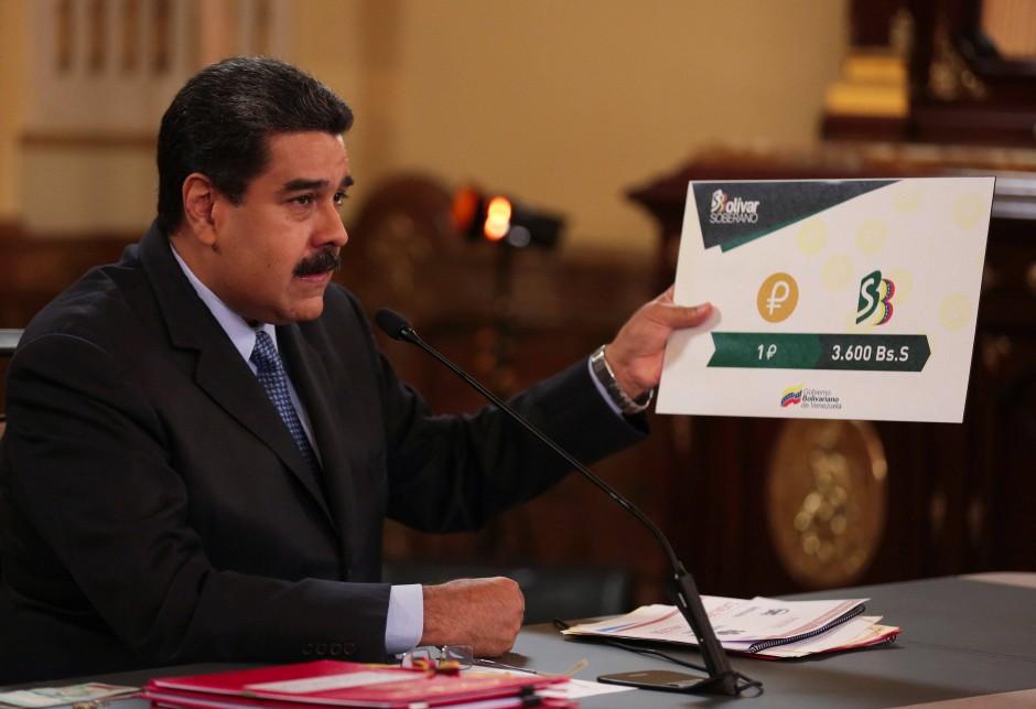 """Präsident Maduro setzt auf die Kryptowährung """"Petro"""""""