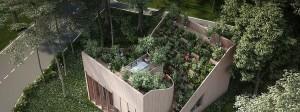 """Das Architekturbüro Penda verknüpft in """"Yin & Yang"""" Leben und Arbeiten sowie Drinnen und Draußen durch einen aufeinander zulaufenden Terrassengarten miteinander."""