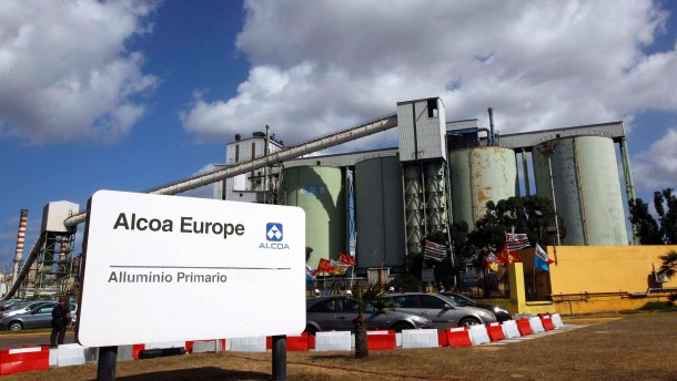 Alcoa Inc.'s aluminium plant in Sardinian is pictured in Portovesme