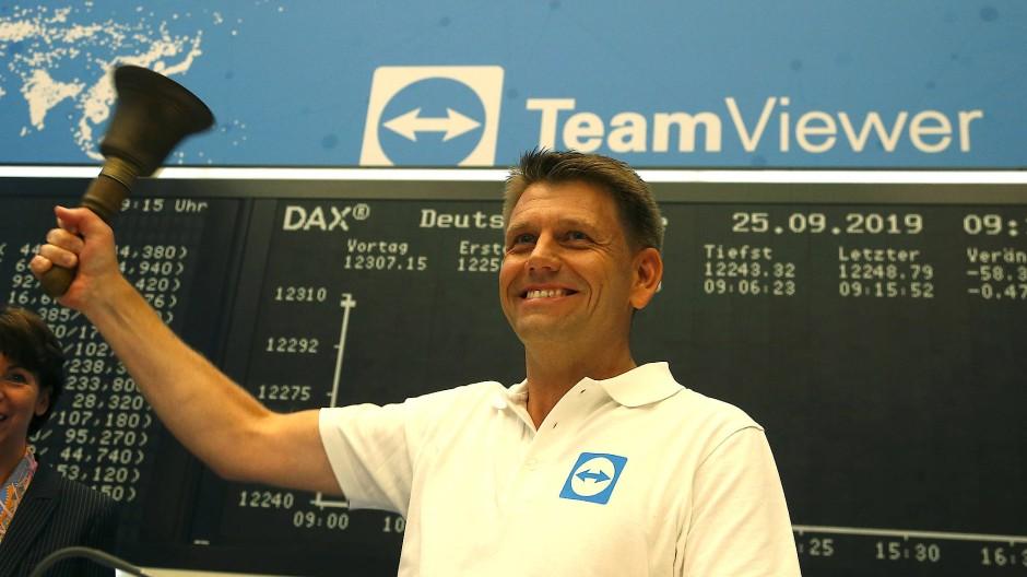 Ist nun an der Börse angekommen: Das Software-Unternehmen Teamviewer mit Vorstandschef Oliver Steil.