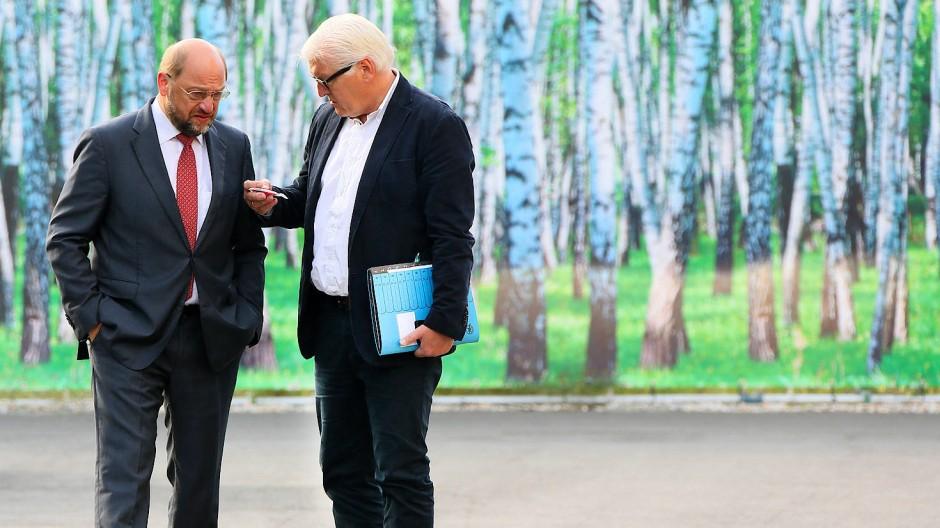 Vielleicht klappt es mit ein bisschen gut zureden - Bundespräsident Frank-Walter Steinmeier mit SPD-Chef Martin Schulz