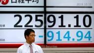 Die asiatischen Märkte sind auf Baisse gestimmt.