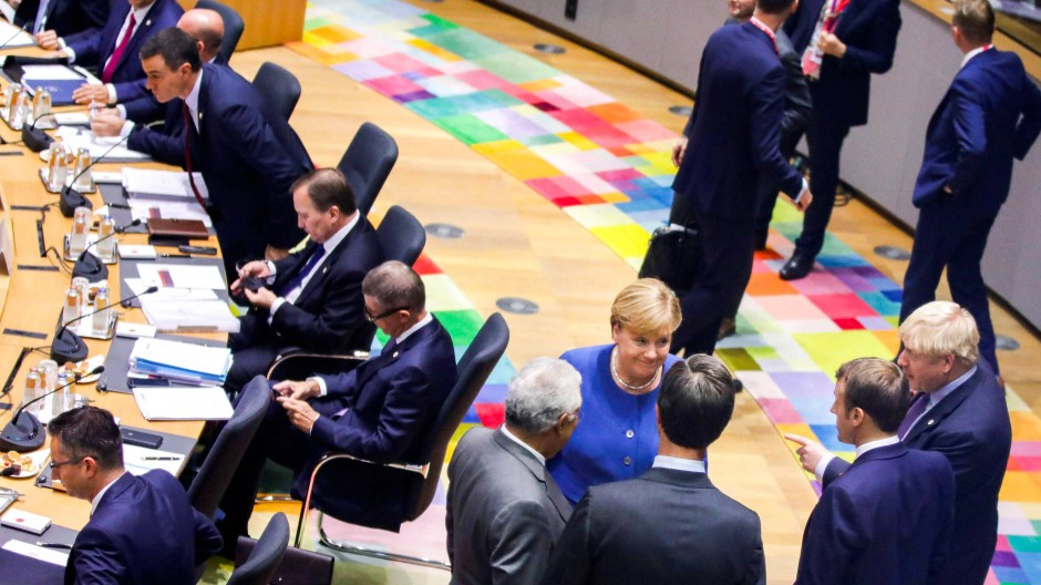 Johnson, Merkel und Macron auf dem EU-Gipfel in Brüssel