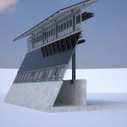 Ein Konzept einer mit Solar-Panelen versehenen Grenzmauer zu Mexiko.